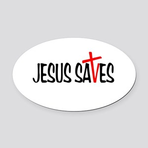 Jesus Saves Oval Car Magnet